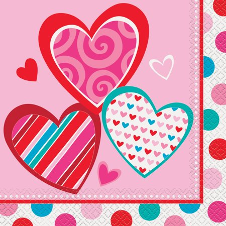 Bright Hearts Valentine's Day Party Lunch Napkins, 16ct