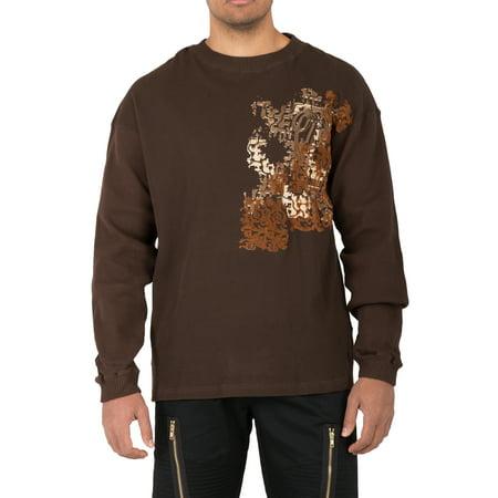 Vibes Mens Long Sleeve Waffle Thermal T-Shirt Distressed Flock Print Rib Cuff Crew Neck