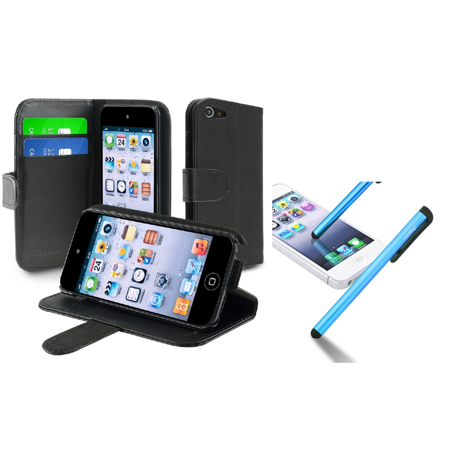 Insten For Apple iPod touch 6 6G 6th 5 5G 5th Wallet Leather Case w/ Card Holder, Black+Blue Pen