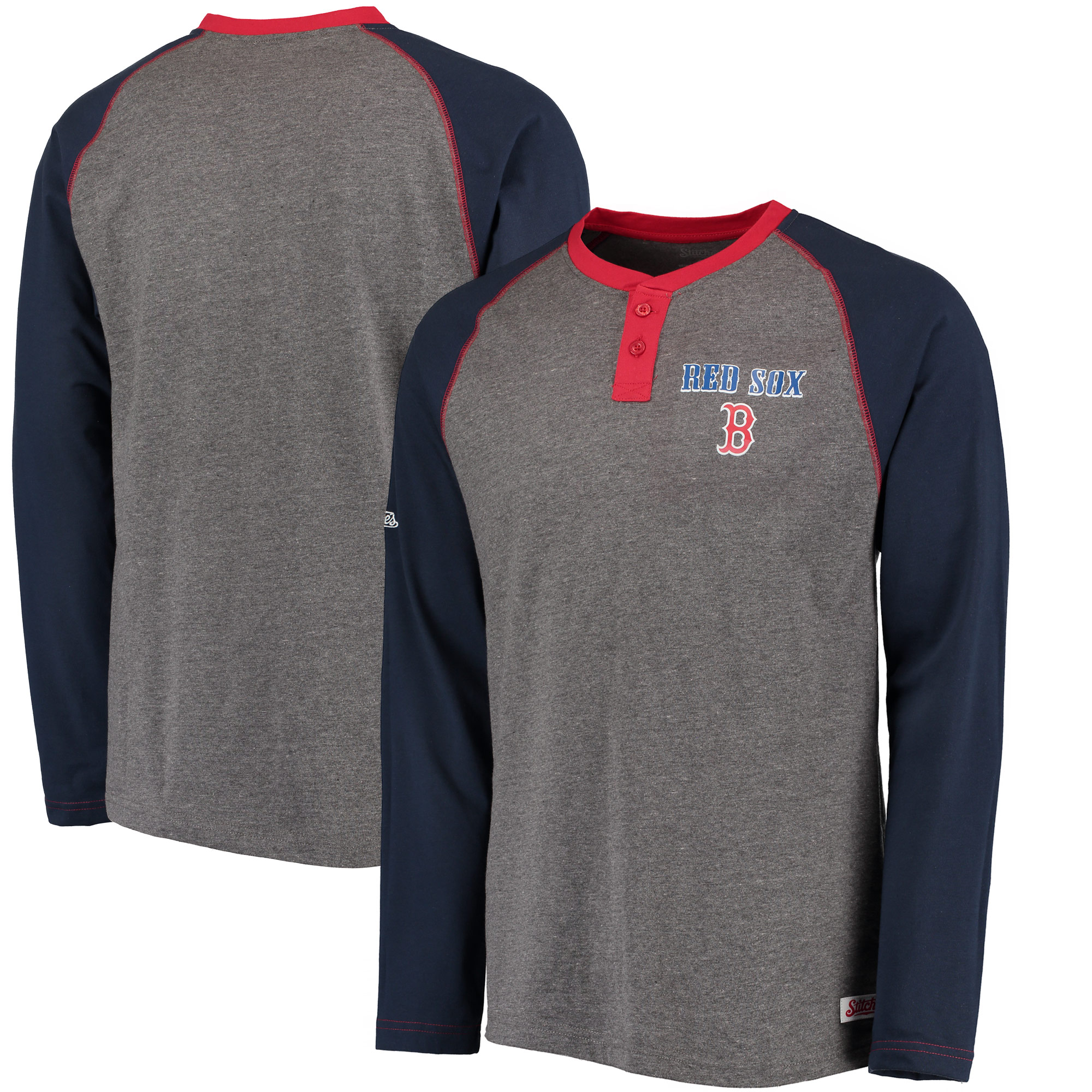 Boston Red Sox Stitches Home Run Long Sleeve Henley T-Shirt - Heathered Gray/Navy