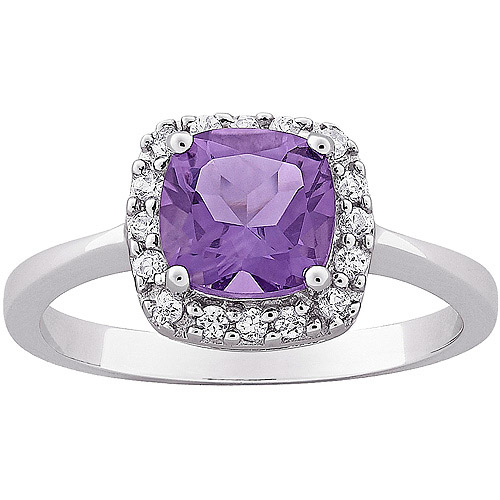 0.49 Carat T.G.W. Cushion-Cut Amethyst and CZ Ring in Sterling Silver
