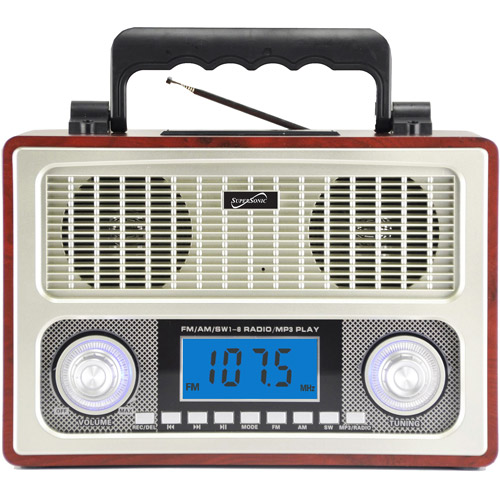 Supersonic 10 Band AM/FM Shortwave Radio, Wood