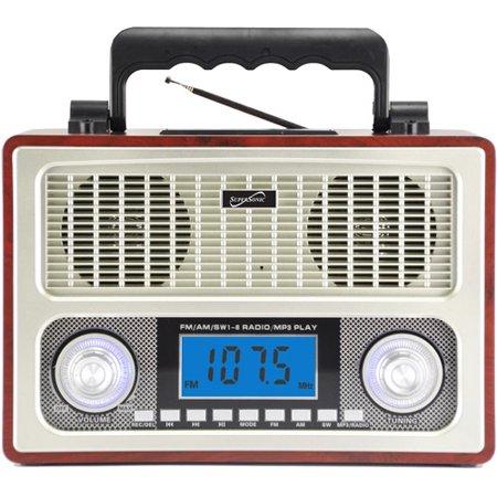 Supersonic 10 Band AM/FM Shortwave Radio, Wood