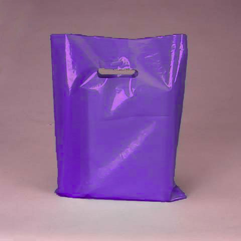 50 Pack Purple Opaque Cut Out Handle 9 X 12 Inch Size Retail Merchandise Plastic Bags