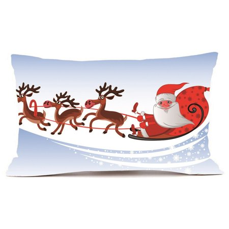 Hot Sale Merry Christmas Home Shops Sofa Bed Car Seat Rectangle Throw Pillow Case Decorative Cushion Cover Xmas Home Festival Decoration Supplies ()