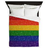CafePress - Glitter Rainbow Pride Flag - Queen Duvet Microfiber
