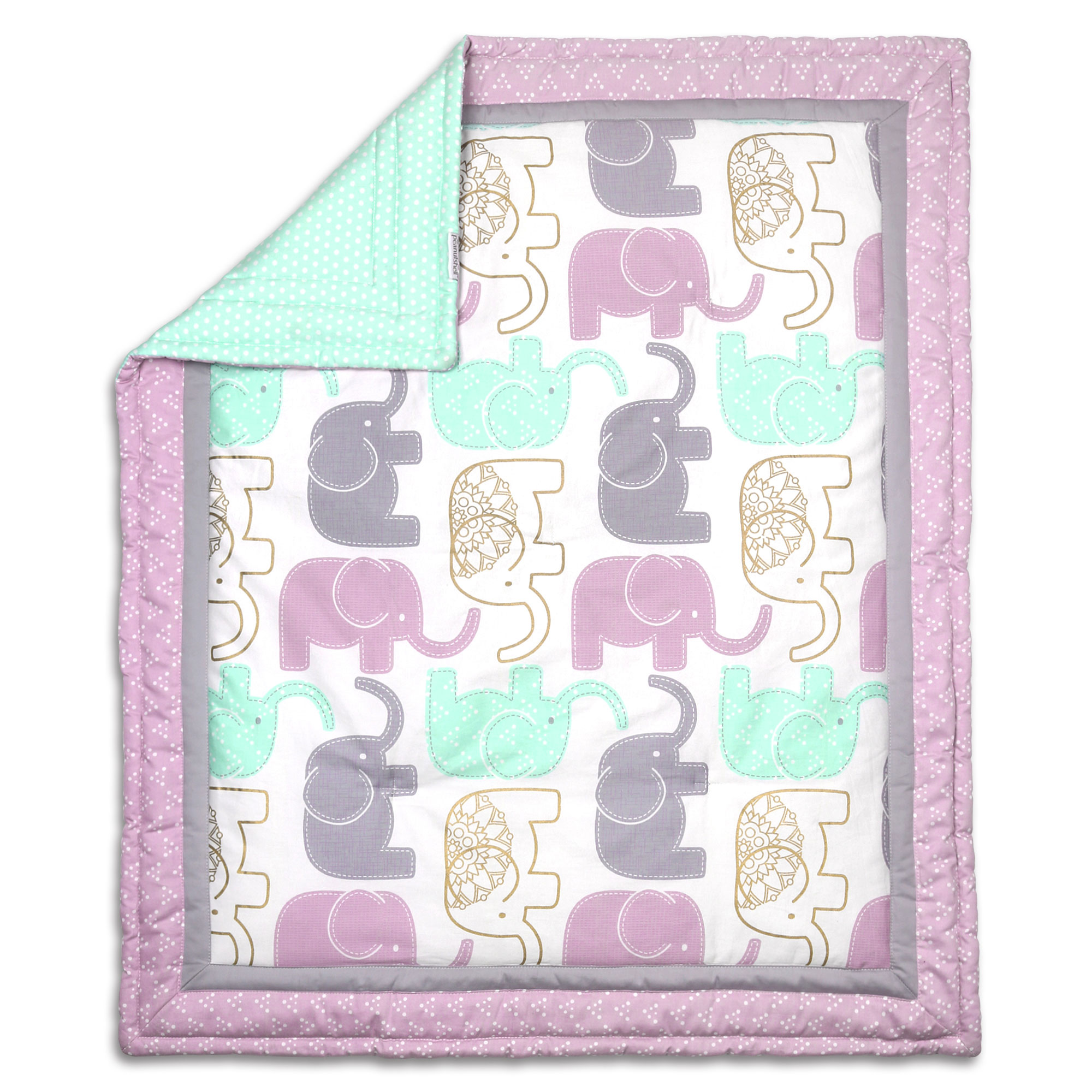 The Peanut Shell Baby Girl Crib Quilt - Little Peanut Lilac Purple and Gold Elephants - 100% Cotton Sateen Fabrics; 44 by 37 Inches