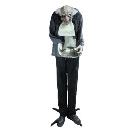5.5' Lighted Standing Butler Man Animated Halloween Decoration with Sound