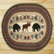 "Earth Rugs OP-Bear/Moose Design Braided Rug, 20 x 30"", Burgundy/Blue/Gray"