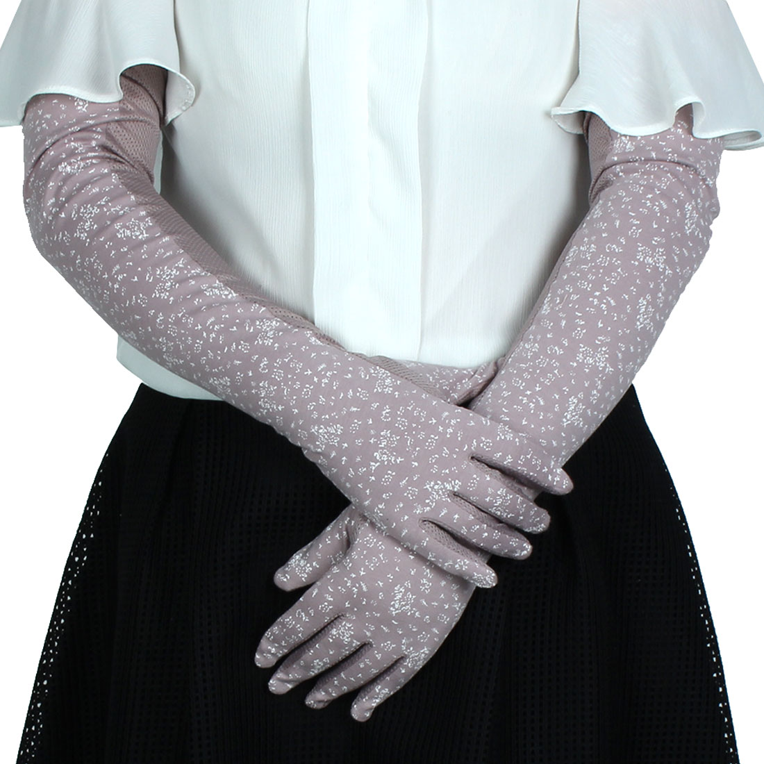 Lady Driving Arm Sleeves Full Finger Mittens Sun Resistant Gloves Purple Pair - image 2 of 2