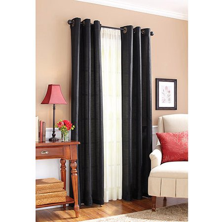 Better Homes And Gardens Solid Faux Silk Window Curtains