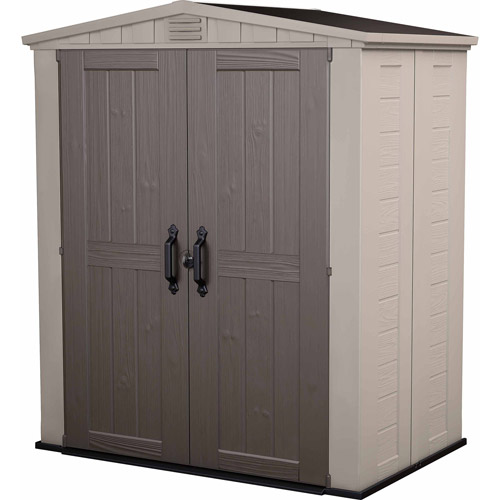 Keter Factor 6' x 3' Resin Storage Shed, All-Weather Plastic Outdoor Storage, Beige/Taupe