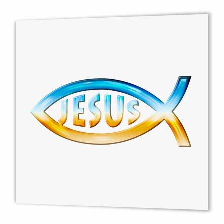 3drose Christian Fish Symbol Jesus Chrome Iron On Heat Transfer