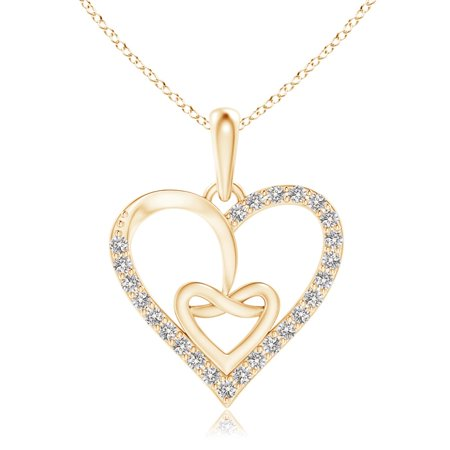 Valentine Jewelry gift - Entwined Diamond Ribbon Heart Pendant in 14K Yellow Gold (1mm Diamond) - SP1126D-YG-IJI1I2-1 Gold Diamond Ribbon Pendant