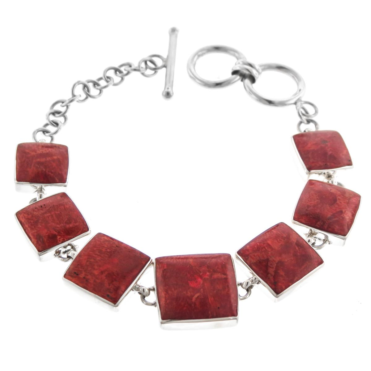 """Red Sponge Coral 925 Sterling Silver Toggle Bracelet, 6 3 4"""" 7 1 2"""" by Firoma"""