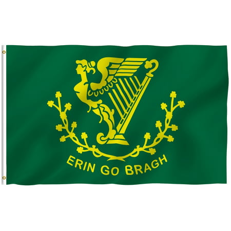 ANLEY [Fly Breeze] 3x5 Foot Erin Go Bragh Flag - Vivid Color and UV Fade Resistant - Canvas Header and Double Stitched - Ireland Forever Flags Polyester with Brass Grommets 3 X 5 Ft