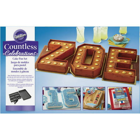 Wilton Countless Celebrations Cake Pan Set, 10-Piece Letter and Number Cake Pan (Number Cake Pans)