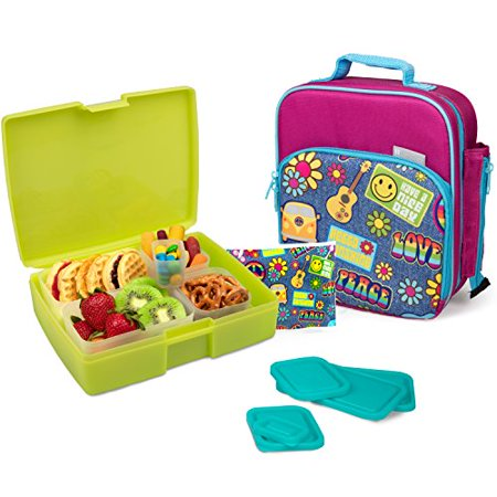 Bentology Lunch Bag and Box Set - Includes Insulated Bag with Handle, Bento Box, 5 Containers and Ice Pack - Retro ()