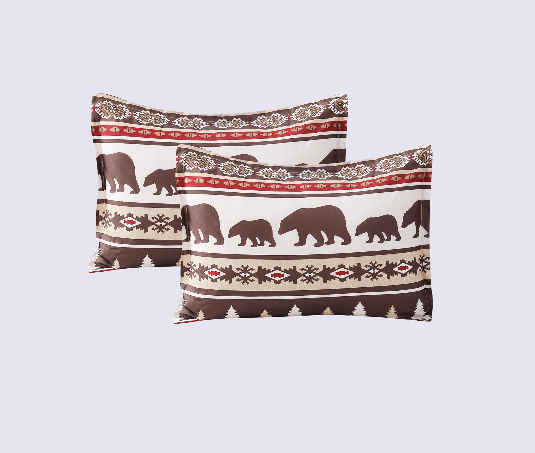 MarCielo 5 Pcs Bohemian Rustic Lodge Cabin Christmas Comforter Set Yukon Queen