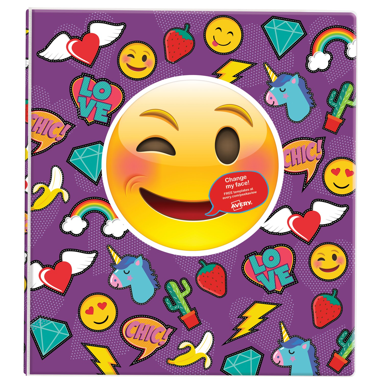 "Avery Peek a View Binder, 1"" Round Rings, 175-Sheet Capacity, Stitched Emoji"