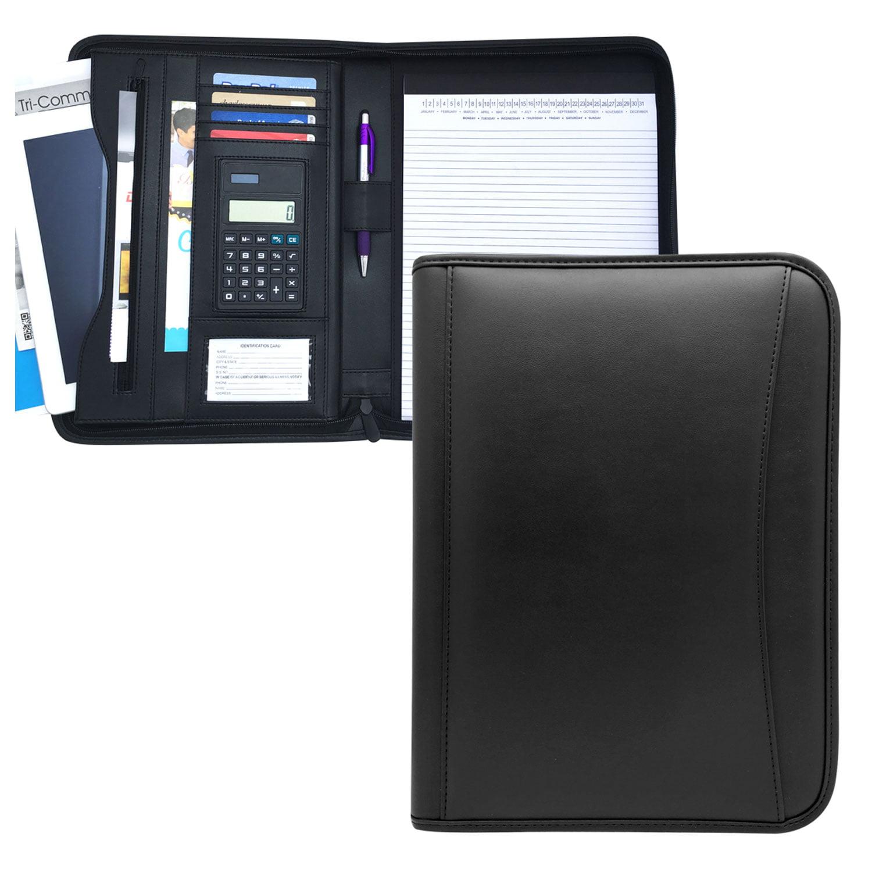 "MSP Business Portfolio with Zippered Closure, Calculator, Ipad sleeve- 10 x 13"" PU leather -Black (039BK)"