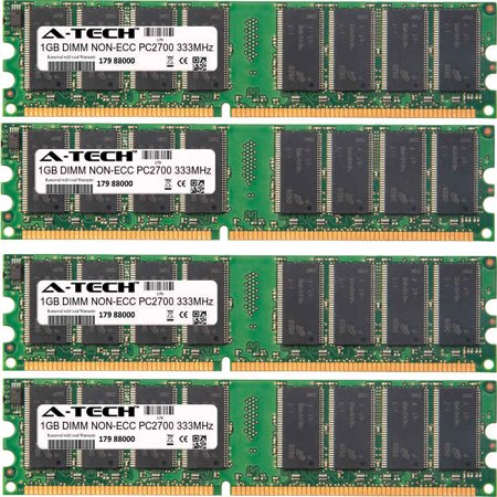 Pin Dimm Ddr Ram (4GB Kit 4x 1GB Modules PC2700 333MHz NON-ECC DDR DIMM Desktop 184-pin Memory Ram)