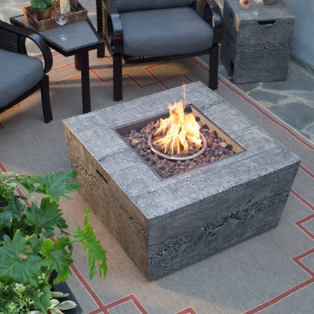 Belham Living Glacier Stone 35 in. Square Gas Fire Pit Table with FREE