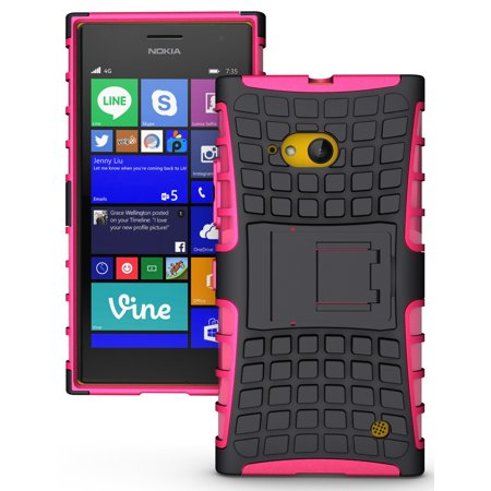 NAKEDCELLPHONE'S PINK GRENADE GRIP RUGGED TPU SKIN HARD CASE COVER STAND FOR NOKIA LUMIA 730 735  (SPRINT, VERIZON, (Lumia 730 Best Price)