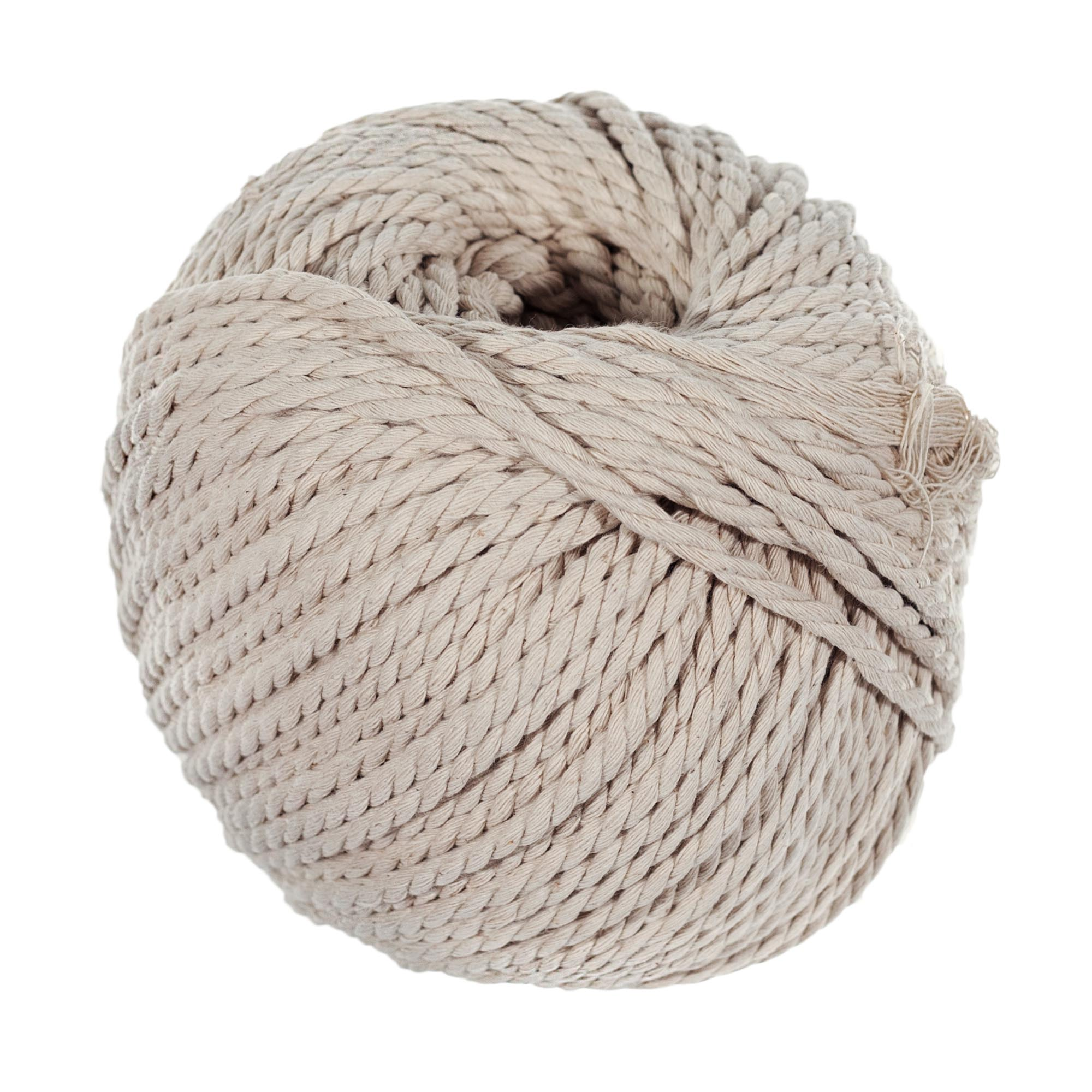 Craft County 80 Meter Skein of 4mm Diameter Crafting Cotton Rope in Black, Gray, Ivory, Light Pink, & Tan