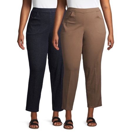Just My Size Womens Plus Size 2 Pocket Stretch Pull On Pants Available in Petite, 2 Units Bundle