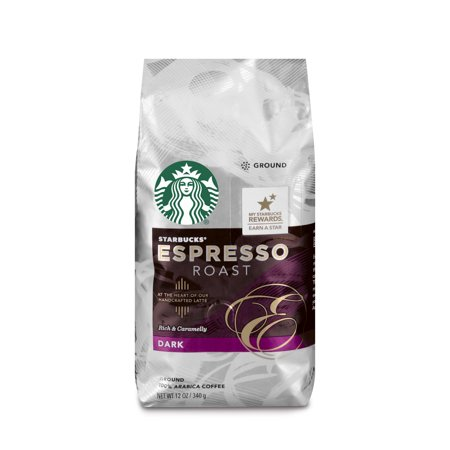 Starbucks Espresso Roast Dark Roast Ground Coffee, 12-Ounce Bag (Hazelnut Roasted Coffee)