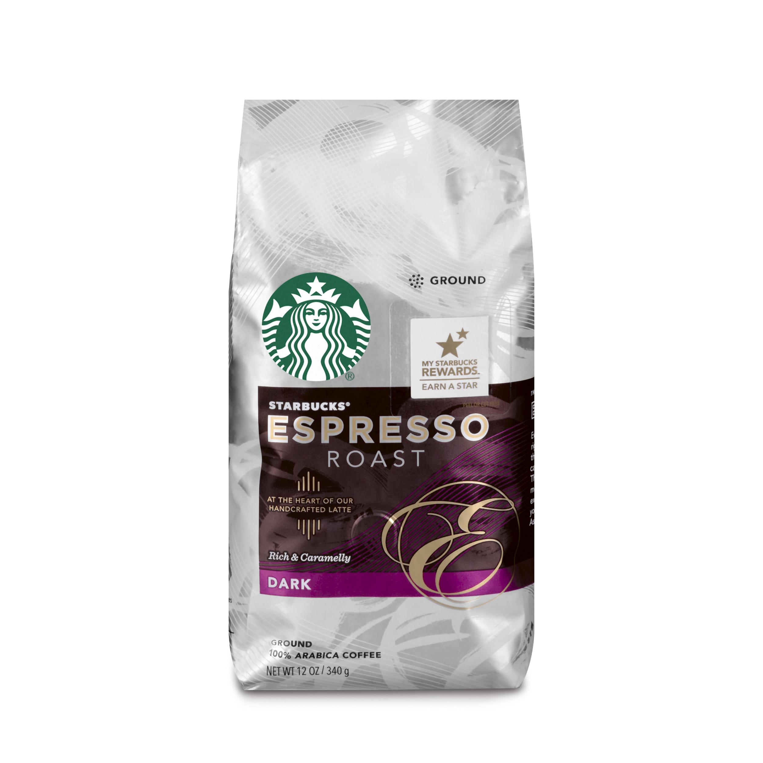 Starbucks Espresso Roast Dark Roast Ground Coffee, 12-Ounce Bag