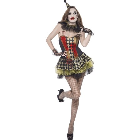 Smiffy's Women's Fever Creepy Zombie Clown Costume, Tutu Dress, Hat and Collar, Halloween, Fever, Size 10-12, - Happy Halloween Creepy