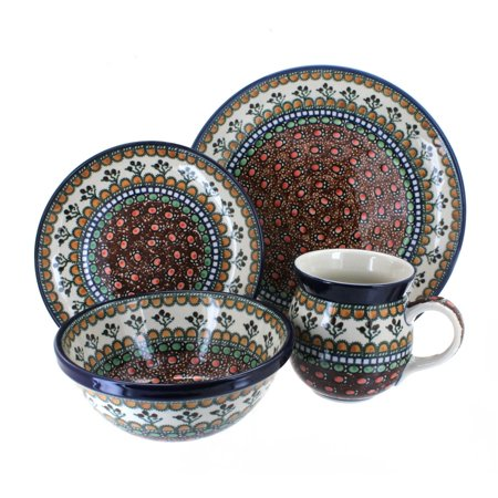 Polish Pottery Golden Pastures 4 Piece Dinner Set