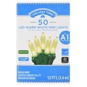 Holiday Time LED Mini Light Set, Warm White, 50 count