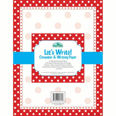 Barker Creek Computer Paper 50 Sheets - Red & White Dot (LL-716)