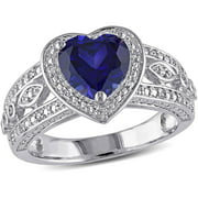 2-1/4 Carat T.G.W. Created Blue Sapphire and 1/10 Carat T.W. Diamond Sterling Silver Halo Heart Engagement Ring