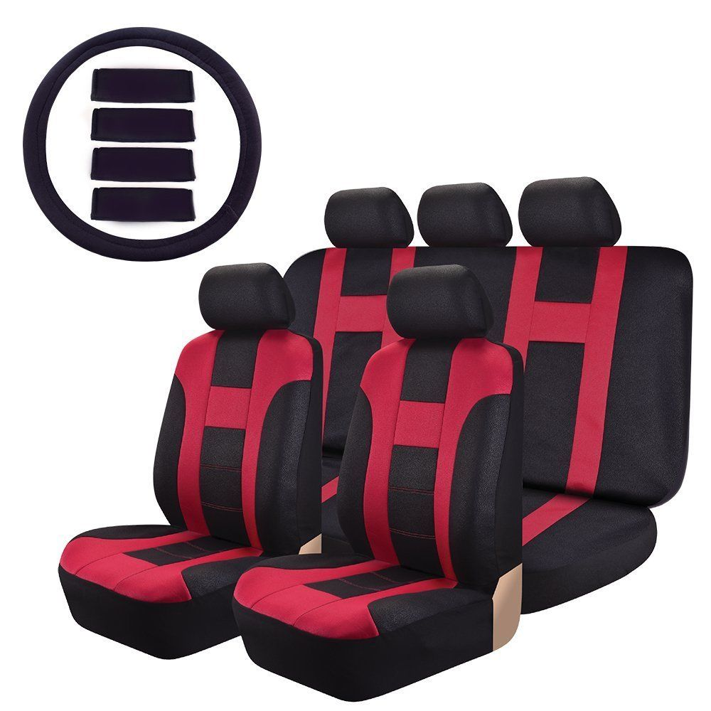 Car Seat Covers OMISS Sports Racing leather-look Universal Fit Full Set Car Covers Fit Most Car, Truck, Suv, or Van (Red)