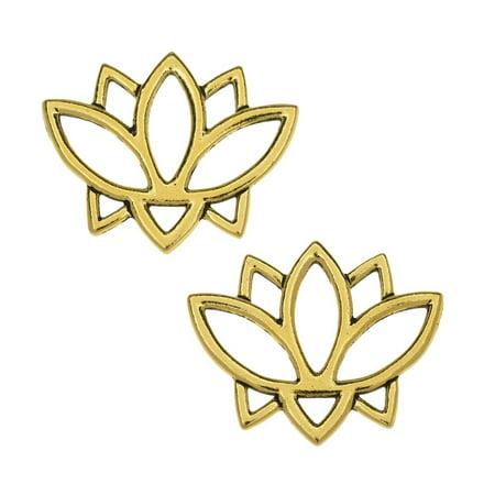TierraCast Pewter Connector Links, Open Lotus Flower Design 19x23.5mm, 2 Pcs, Antiqued Gold Plated (Open Design Lotus Flower)