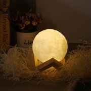 USB Rechargeable 3D Printing USB Touch Lamp with Wooden Stand, 3.15 in Diameter, White