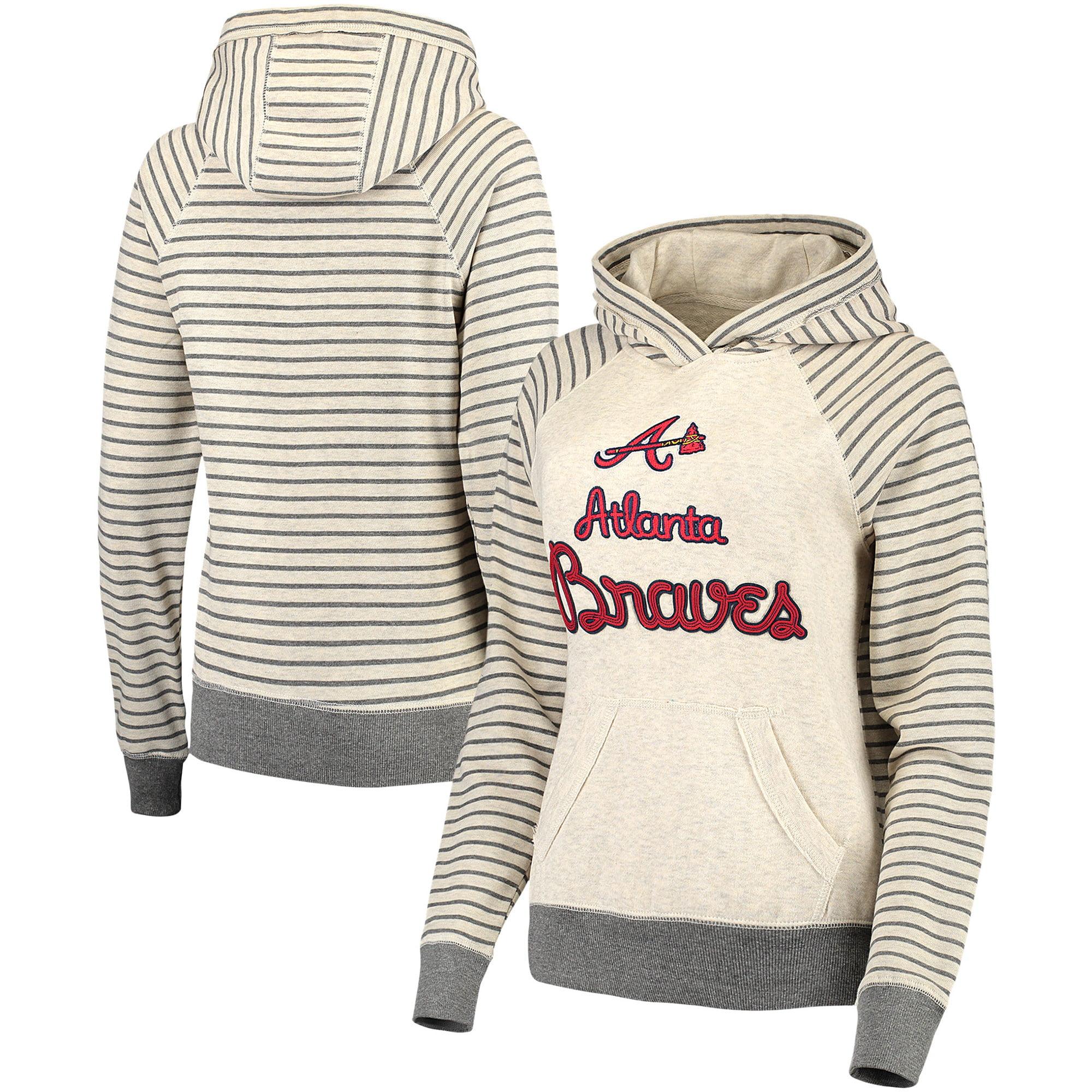 Atlanta Braves Soft as a Grape Women's Bio Washed Stripe Sleeve Pullover Hoodie - Cream/Gray