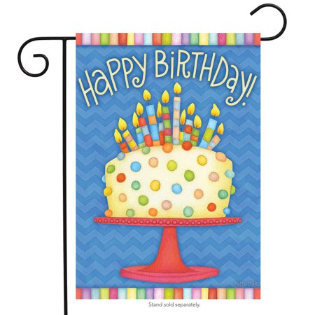 Happy Birthday Garden Flag Cake Candles 12.5