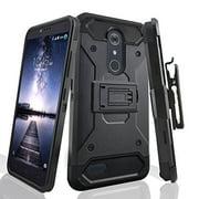 ZTE ZMax Pro Case, ZTE Grand X Max 2 Case, ZTE Imperial Max / ZTE Max Duo LTE Heavy Duty[Built-in Kickstand] Belt Clip Holster / Rugged Triple Layer Protection - Black