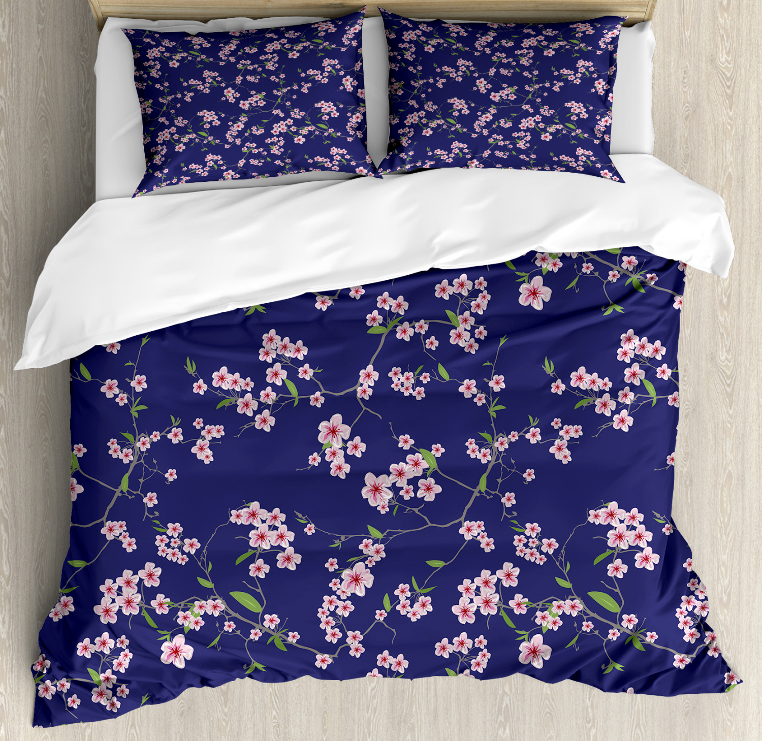 Vibrant Sakura Flowers Print Details about  /Japanese Quilted Bedspread /& Pillow Shams Set