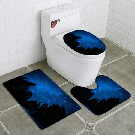 EREHome The Bright Starry Sky in Night Forest 3 Piece Bathroom Rugs Set Bath Rug Contour Mat and Toilet Lid Cover - image 2 de 2