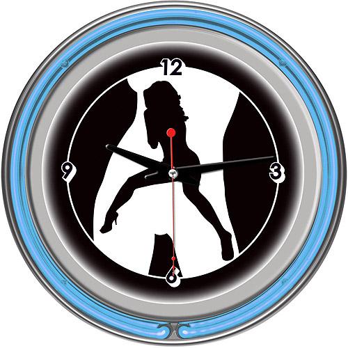 "Shadow Babes, C Series Blue 14"" Neon Wall Clock"