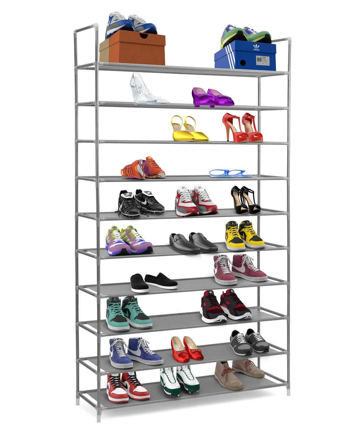 Highflow 10 Tier Stainless Steel Shoe Rack / Shoe Storage Stackable Shelves    Holds 50 Pairs