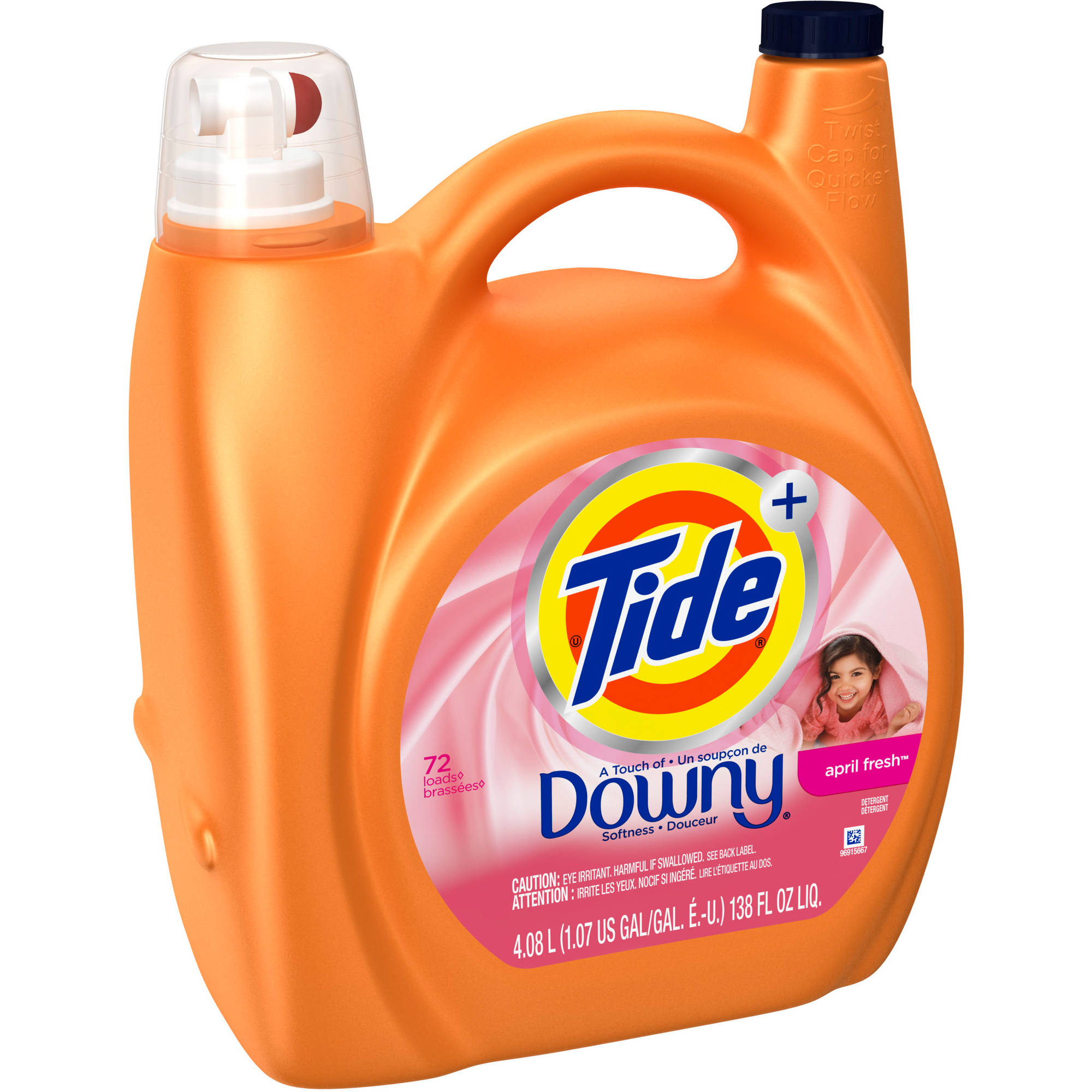 Tide Plus Downy April Fresh Scent Liquid Laundry Detergent, 72 Loads 138 oz