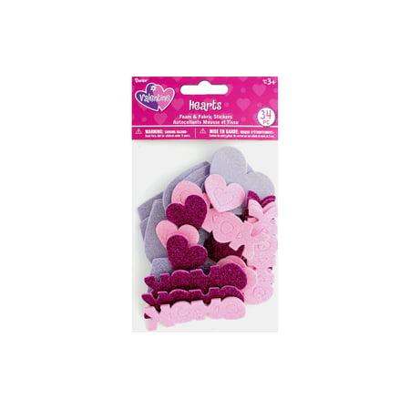 Darice Sticker Valentine Foam N Fabric Heart 34pc