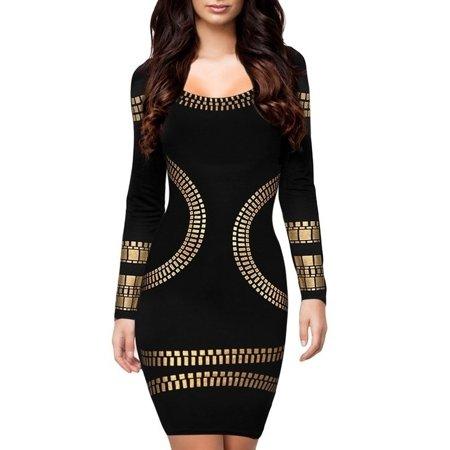 Women's O-Neck Long Sleeve Bronzing Appliques Elegant Bodycon Dress Party Pencil Dresses